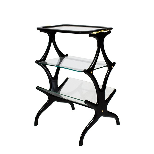 Black 1950´s Sidetable With Magazine Rack by Cesare Lacca, Beech, Glass, Brass - Italy For Sale - Image 8 of 8