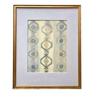 Original Vintage Mid Century Abstract Watercolor With Tribal Influence For Sale