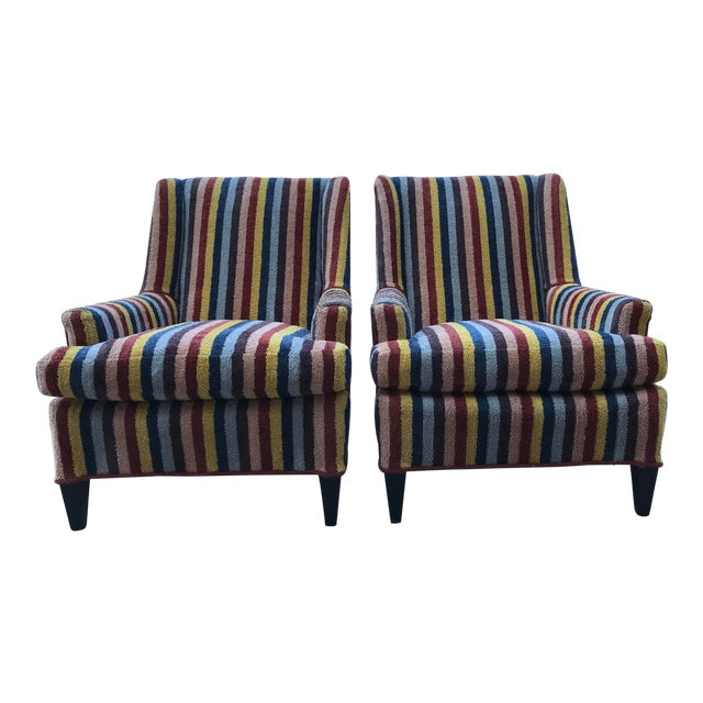 20th Century Century Furniture Kravet Stripe Club Chairs - a Pair For Sale