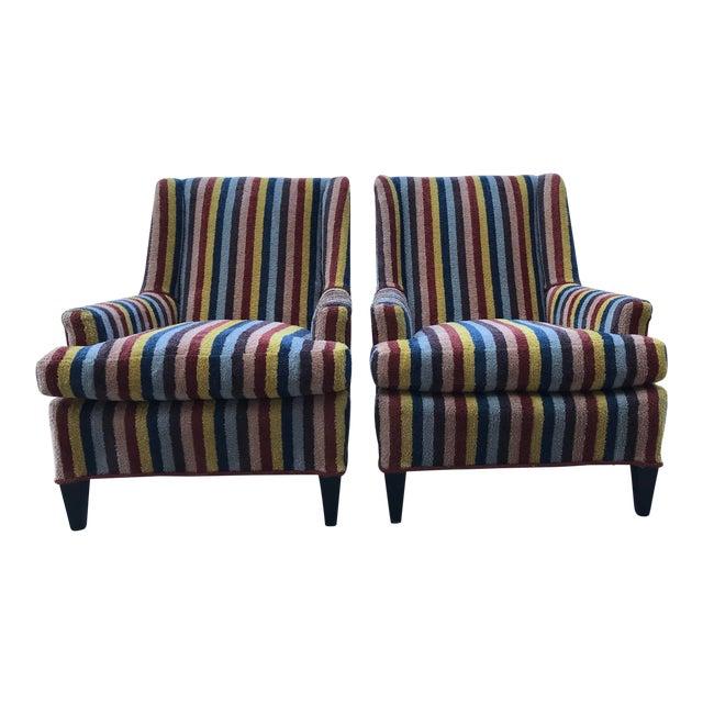 Vintage Century Furniture Kravet Vespa Multi Color Stripe Club Chairs - a Pair For Sale