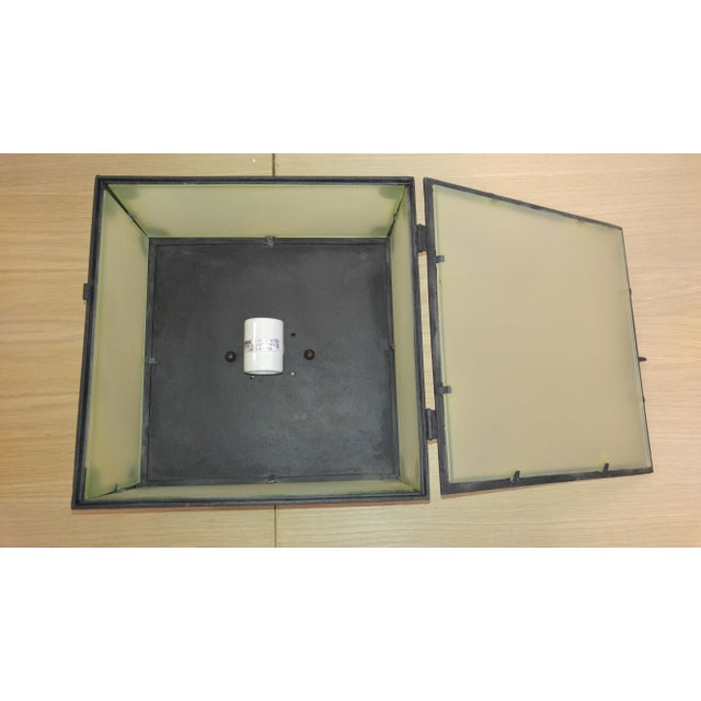 Reborn Lighting Custom Black Iron Finish & Frosted Glass Square Flush Mount Fixture For Sale In Los Angeles - Image 6 of 7