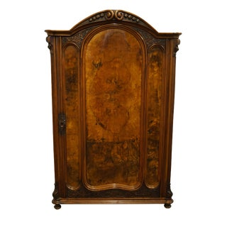 1900's Antique Vintage English Revival Burled Walnut Armoire For Sale