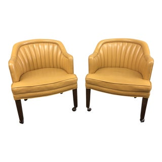 Mid-Century Modern Naugahide Barrel Chairs - a Pair