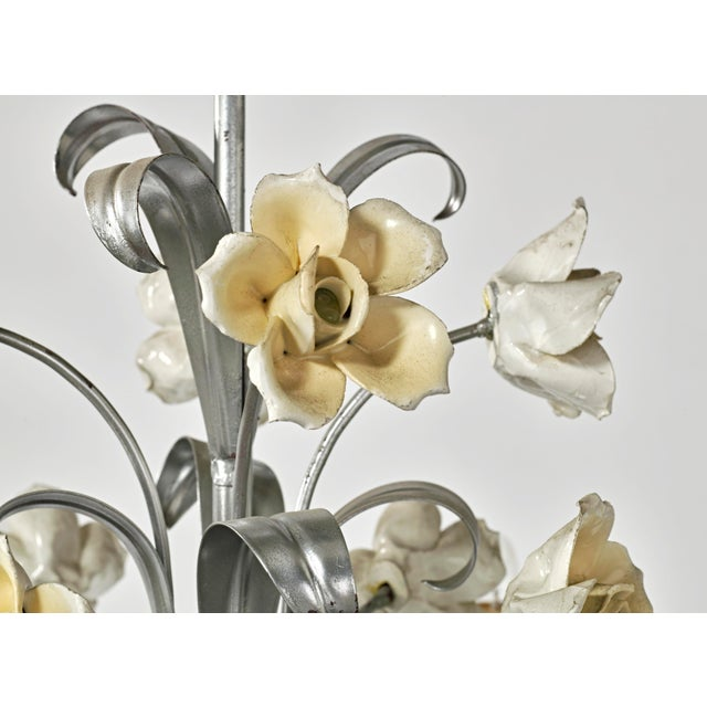 Metal Mid Century Modern Italian Tole Floral Eight Light Chandelier For Sale - Image 7 of 13