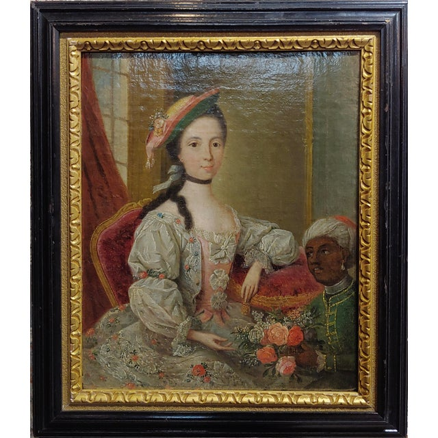 Friedrich Ludwig Hauck -Aristocratic Lady & her Black Slave-18th century Oil painting portrait of a German Aristocratic...