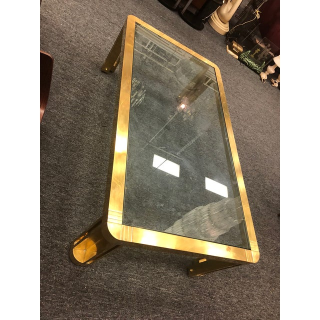 Italian 1970s Italian Brass Coffee Table With Great Design For Sale - Image 3 of 11