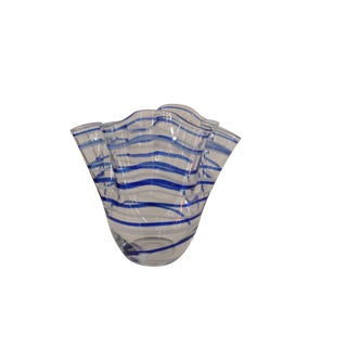 Vintage Blue Striped Handkerchief Vase For Sale