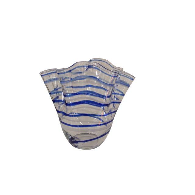 Vintage Blue Striped Handkerchief Vase - Image 1 of 4