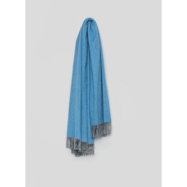 Contemporary Arran Plain Cashmere Throw, Sky Blue For Sale - Image 3 of 3