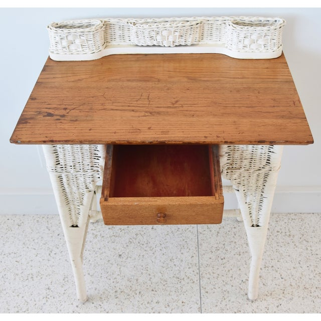 Early 20th Century Antique Painted Wicker & Oak Writing Desk Table For Sale - Image 5 of 13