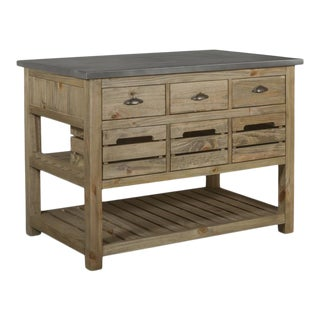 Crafters and Weavers Barlow Crate Kitchen Island - Rustic Pine and Zinc Top For Sale