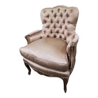 Vintage Champagne Silk Bergere Chair