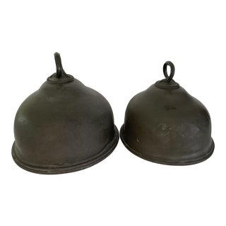 Late 19th Century Antique Pewter Meat Covers- A Pair For Sale