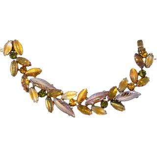 Kramer Bracelet Art Glass Leaf Stone Amber & Green Rhinestones 1950s Vintage For Sale