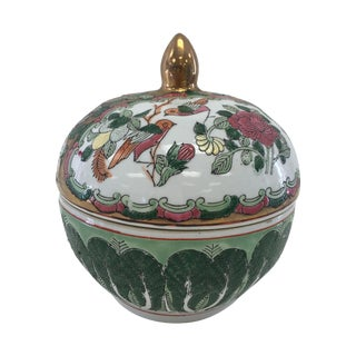 Vintage Round Rose Medallion-Style Box With Lid