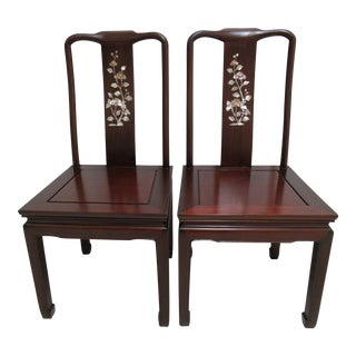 1970s Vintage Chinese Chippendale Rosewood Mother of Pearl Dining Room Chairs - A Pair For Sale