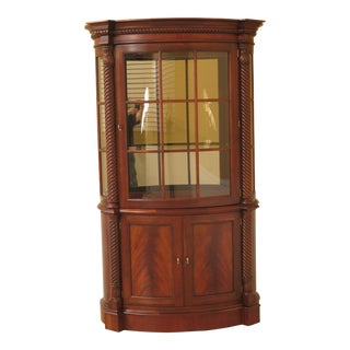 1990s Traditional Henredon Bowed Glass Mahogany China Cabinet For Sale