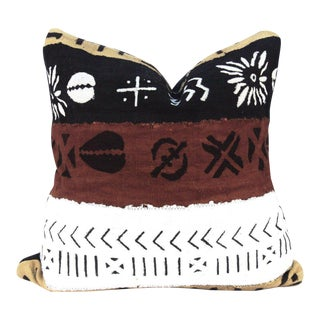 Clay Multicolored African Mudcloth Pillow For Sale