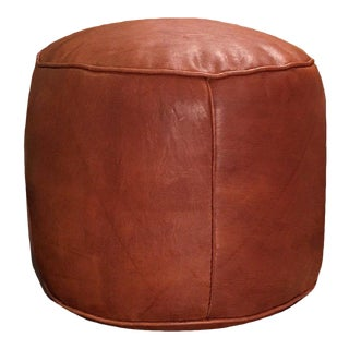 Tabouret Pouf by Mpw Plaza, Brown (Stuffed) Moroccan Leather Pouf Ottoman For Sale
