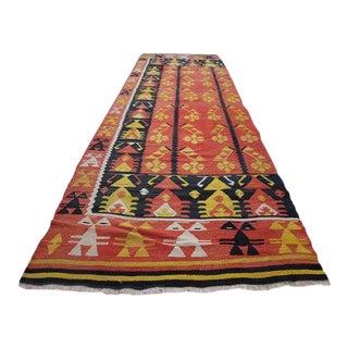 1970s Vintage Turkish Tribal Kilim Runner Rug - 3′8″ × 12′1″ For Sale