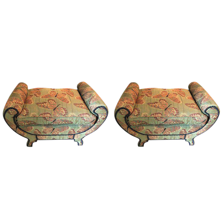 Hollywood Regency Style Pair Of Butterfly Upholstered Benches Or Footstools