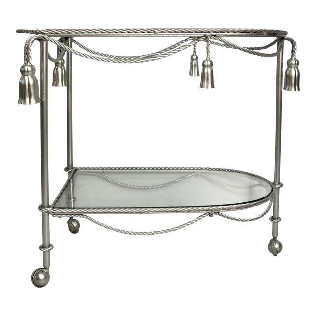 Mid 20th Century Hand Painted Metallic Rope & Tassel Bar Cart For Sale