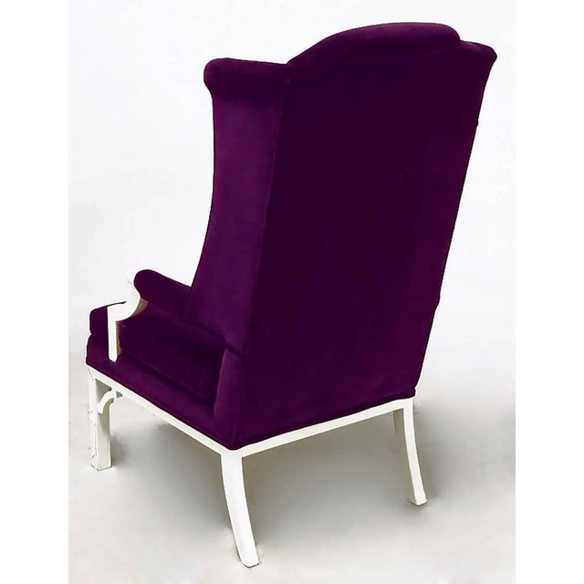 Erwin-Lambeth Erwin-Lambeth Plum Velvet Neo-Chippendale Wing Chair For Sale - Image 4 of 10