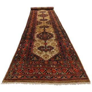 1900s Antique Persian Malayer Long Hallway Runner - 3′ × 15′6″ For Sale