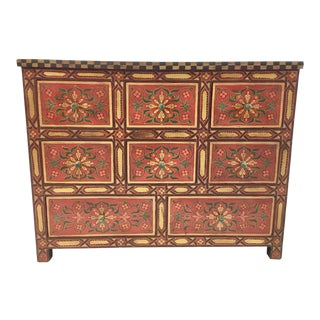 Vintage Moroccan Painted Chest of Drawers For Sale