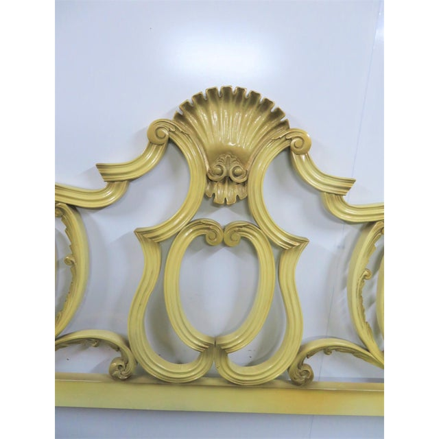 Italian rococo carved kingsize headboard with cream and gold highlight painted finish