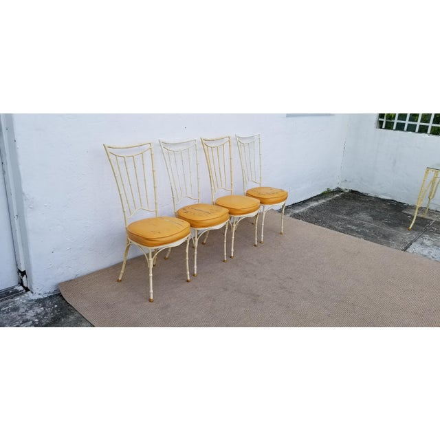 Metal 1960s Vintage Brown Jordan Style Faux Bamboo Aluminum Outdoor Dining- Set of 5 For Sale - Image 7 of 13