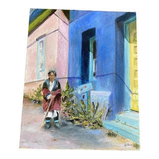 Late 20th Century Woman Strolling by Colorful Houses by Martha Holden For Sale