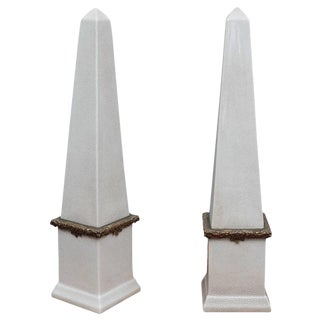 Tall Ceramic with Bronze Bands Obelisks - a Pair