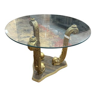 1960s Hollywood Regency Dolphin Side Table/Coffee Table With Glass Top For Sale