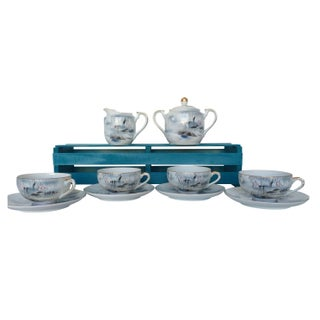 Kutani Tea Set with Lithopane in Cups For Sale