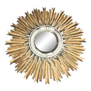 Italian Hand Carved Sunburst Mirror For Sale