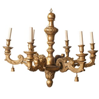 Gilt Carved Wood Six-Arm Chandelier For Sale