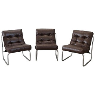 20th Century Italian Design Brown Leather Three of Armchairs, 1980s For Sale