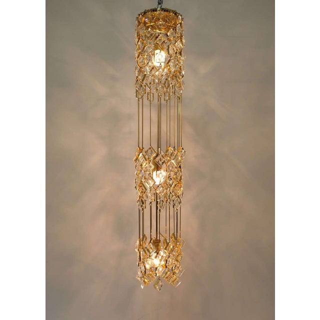 Delicate and rare column style ceiling light by Palwa, Germany. This fixture has been handcrafted and has a drop of almost...