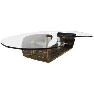 1980s Biomorphic Tessellated Stone and Inlaid Brass & Glass Sculptural Cocktail Table For Sale