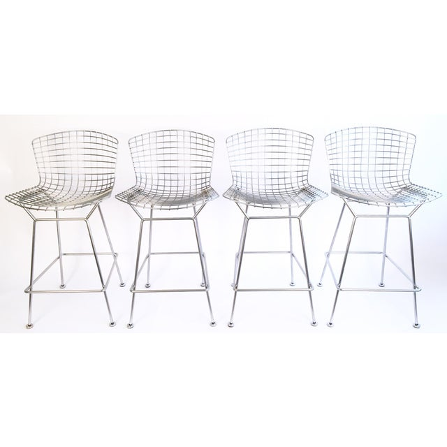 Harry Bertoia Knoll Signed Chrome Bar Counter Stools - Set of 4 - Image 2 of 7
