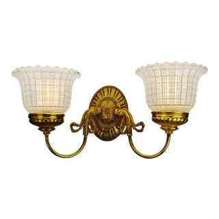 Vintage Brass Wall Sconce With Holophane Glass Shades For Sale