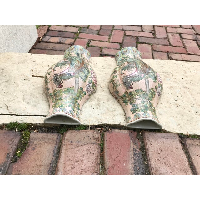 1980s Large Chinoiserie Wall Vases - a Pair For Sale - Image 5 of 9
