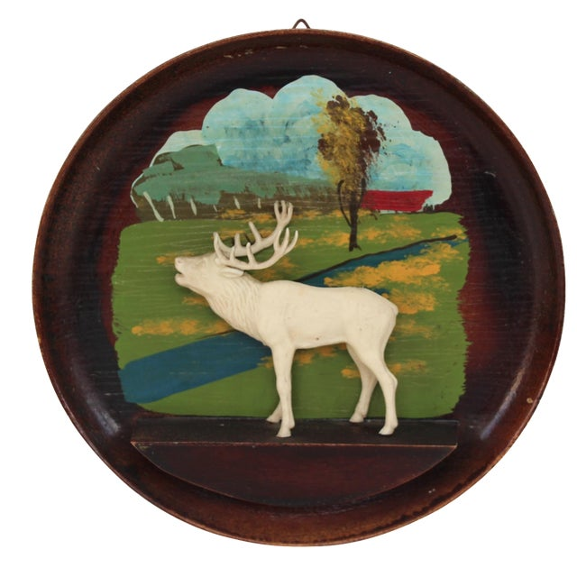 Kitschy Wood Stag Cameo Wall Art - Image 1 of 6