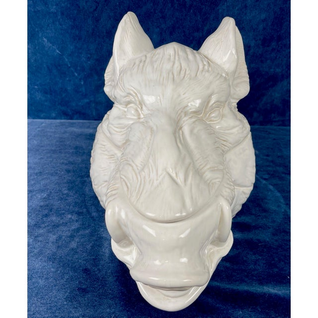 Vintage large white ceramic wild boar's head Tureen. In excellent condition for age with no cracks or chips.