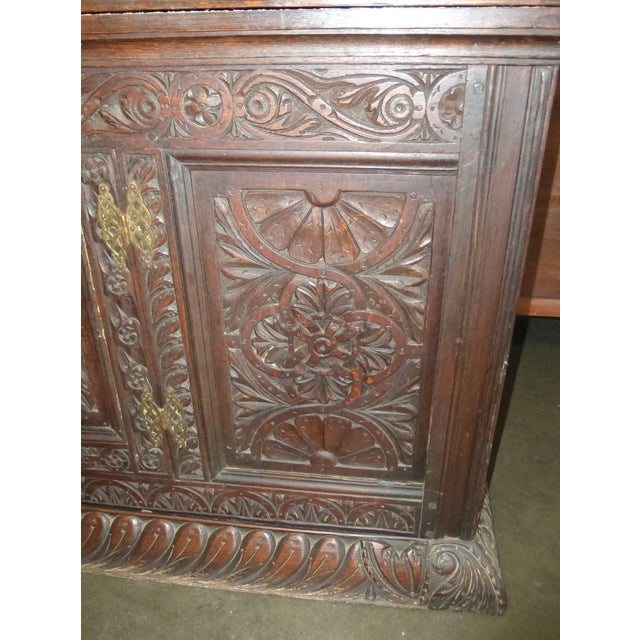 Antique European Detailed and Highly Carved Sideboard With Key - Image 8 of 10