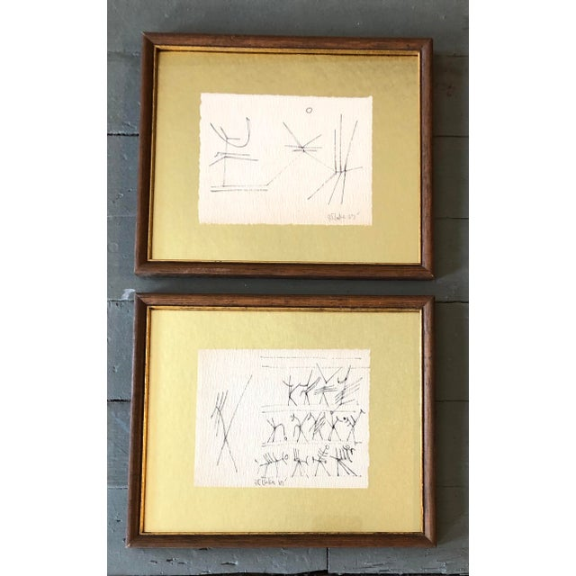 1960s Gallery Wall Collection 2 Original Vintage Robert Cooke Abstract Ink Drawings For Sale - Image 5 of 5