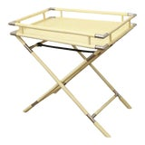 Image of 1970s Ivory Lacquer & Chrome Folding Bar Tray Table For Sale