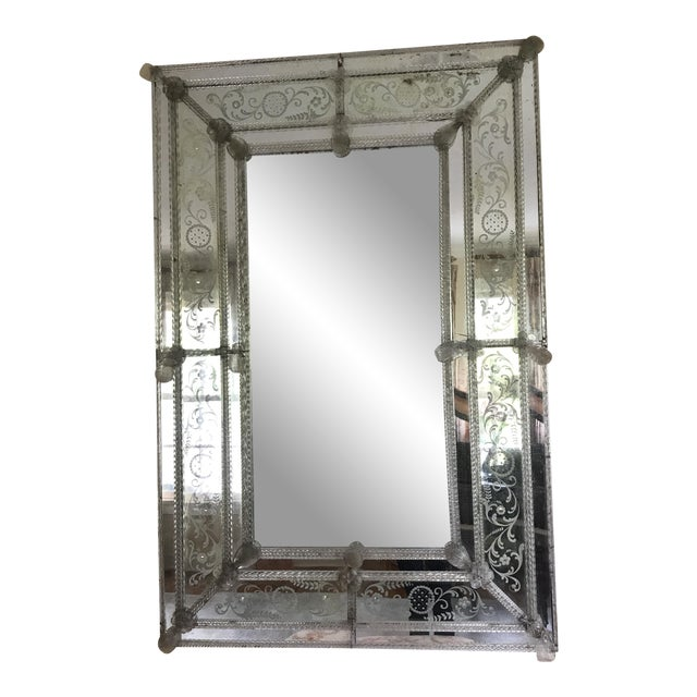 Glass 20th Century Venetian Glass Mirror For Sale - Image 7 of 7
