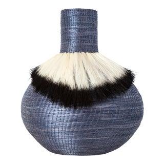 Ostrich Sisal Vase Ink/Black For Sale